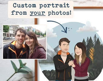 Personalised Portrait Couple or Family   Hand Drawn from Photo   Custom Christmas, Anniversary, Wedding, Birthday Gift Illustration