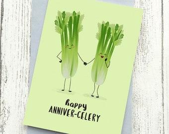Anniversary Card Celery | Cute Funny Pun Love  | Husband Wife Boyfriend Girlfriend A6