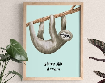 New Baby Print Sloth   Cute Wall Art   8x10 Print Decor for Baby & Children Rooms