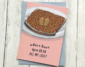 Beans Anniversary Card Love | Beans on Toast British Cute Valentines | Boyfriend Girlfriend A6
