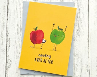 Engagement Card Apples | Cute Funny Pun Love | Congratulations Wedding Couple A6