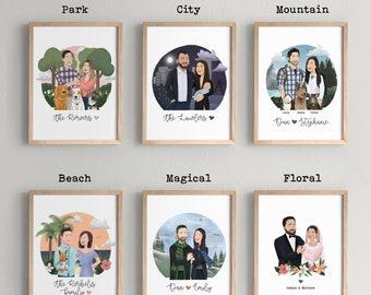 Custom Portrait Gift Voucher for Couple or Family   Letterbox Gift