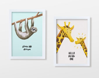 Baby Art Print Set   Cute Wall Art   Digital or Printed Decor for Baby & Children Rooms