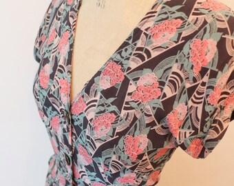 XS Vintage 1930's 1940's Floral Art Deco Dress