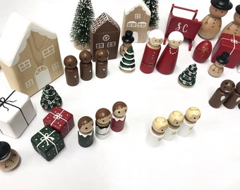 Christmas Peg Dolls, Christmas Advent Calendar, Santa Claus Peg Doll, Mrs Claus, Gingerbread Man, Christmas Elves, Reindeer Peg Dolls,