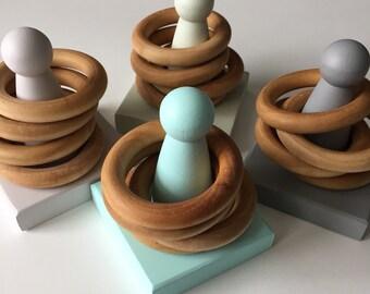 Wood Stacker Toy, Wooden Stacking Toy, Organic Wood Stacking Rings, Ring Stacker, Montessori, Waldorf, Baby Toy, Toddler Toy, Natural Toys