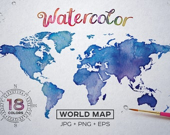 Watercolor World Map Etsy