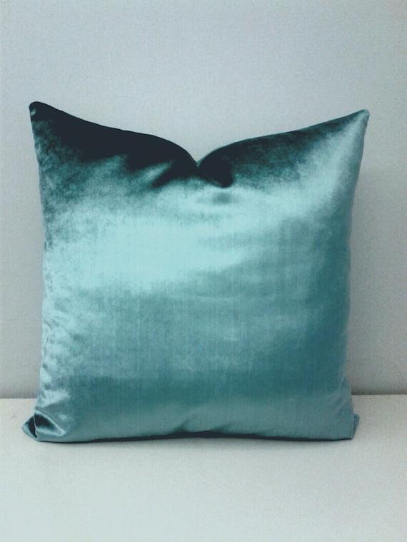 Luxury Smokey Blue Velvet Throw Pillow