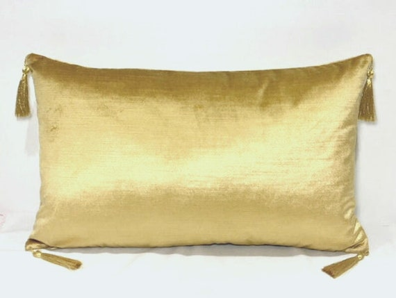 Yellow velvet pillow | Etsy