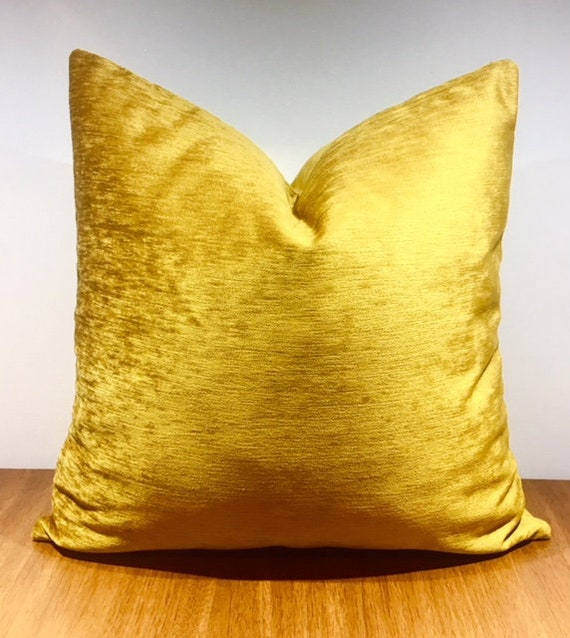 Gold Throw Pillow Chenille Pillow Gold