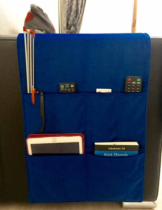 Royal Blue Velvet Fabric Organizer Remote Control Holder Etsy