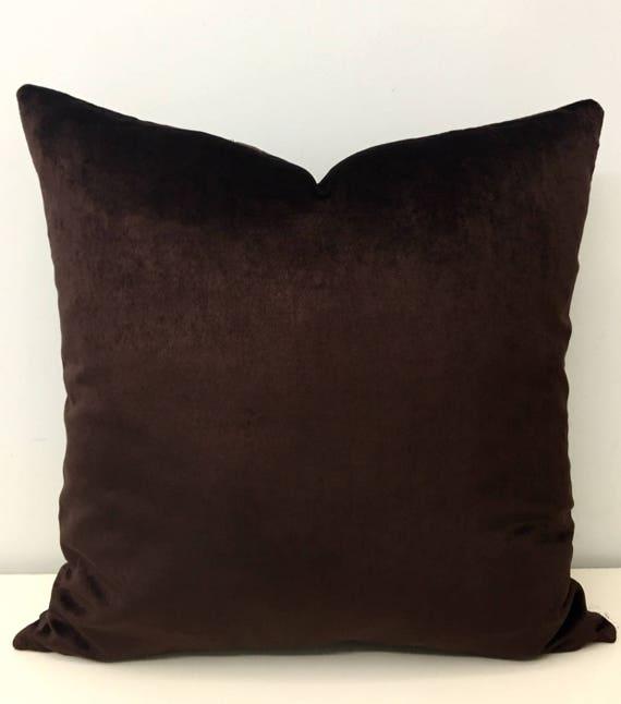 Brown Cotton Velvet Pillow Cover Brown