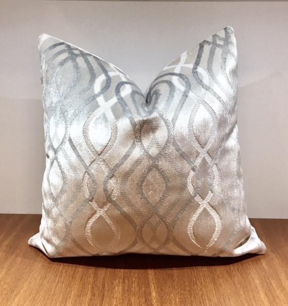 Luxury Silver Grey Velvet Throw Pillow