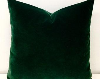 Luxury Dark Green Velvet Throw Pillow, Velvet Pillow Cover, Green Pillows, Decorative Velvet Pillow, Velvet Cushion Case, Velvet Pillows