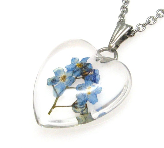 Unique forget me not necklace pressed flowers necklace gift for her real pressed flower