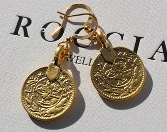 Gold Earrings . Gold Moroccan Coin Earrings . Gold Coin Earrings . Gold Statement Earrings . Medallion Earrings Gold
