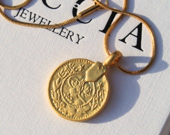 Gold Moroccan Coin Necklace . Gold Coin Necklace . Gold African Necklace . Gold Medallion necklace Gold .  Coin Jewellery Set