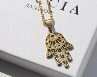 Hamsa Pendant Necklace Gold. Hand of Fatima Necklace . Gold Chain Hamsa Hand Necklace . Hand of Miriam and Kette Hamsa Charm Necklace