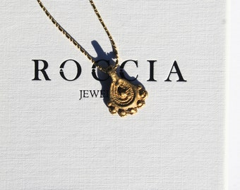 Brass Pendant Necklace . Ethnic Pendant Necklace . Tropical Necklace . Dainty Ball Chain Necklace . Brass Flower Pendant