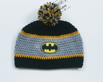 29c18418e Crochet inspired Batman hat, crochet winter Batman hat, knit batman hat, newborn  Batman photo props, Batman birthday gift,kids Batman beanie