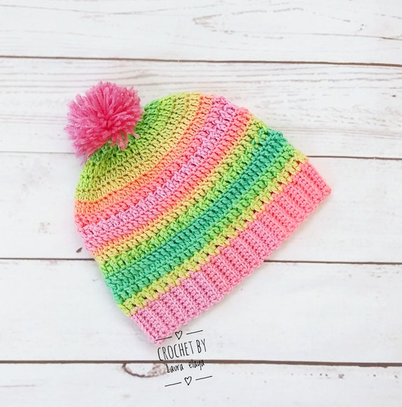 New Handmade Crochet Rainbow Autism Peace Beanie Hat With Pompom