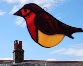 Stained glass robin