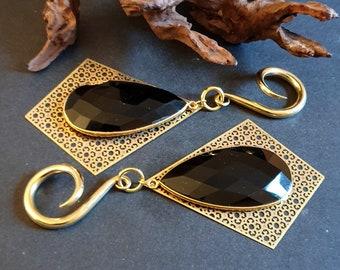 Labradorite ear hangers brass ear weights,drop ear weights,dangle ear hanger,guage earring