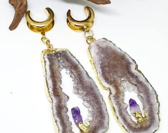 Amethyst ear hangers,raw amethyst ear weights,pendulum ear weights,guage earring