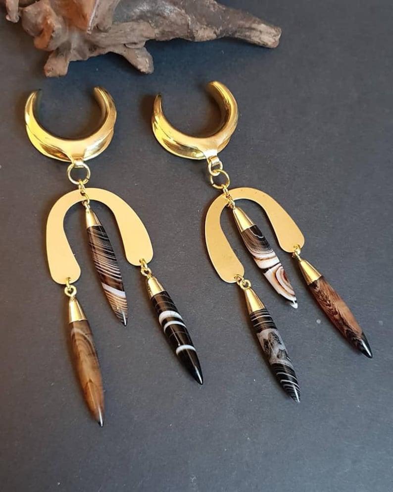 Brass ear weights,agate ear weights,saddle ear weights,dangle ear hanger,guage earring