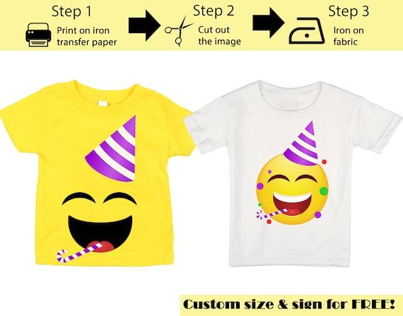 Emoji iron on transfers Emoji Brother of the Birthday Girl iron on transfer T-Shirt Emoji Birthday shirt Brother of the Birthday Girl or boy