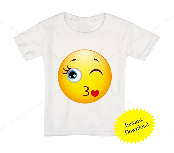 image about Printable Emoji Pictures referred to as Printable Emoji T-blouse / Kiss Emoji Iron upon shift / Emoji Birthday / Bash blouse / Immediate Down load