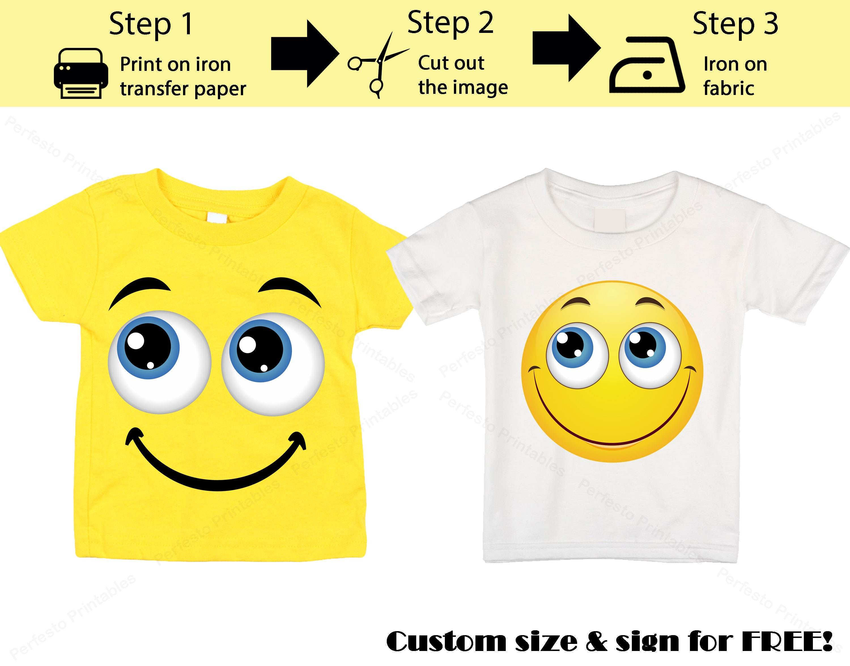 Printable Emoji T-shirt / Smile emoji / Iron on transfer / Emoji Birthday /  Instant Download / Smile emoji