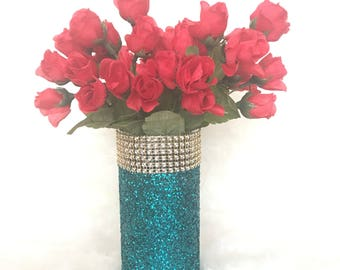 Gold Rhinestone and Glittered Vase/Wedding Centerpiece/Home Decor