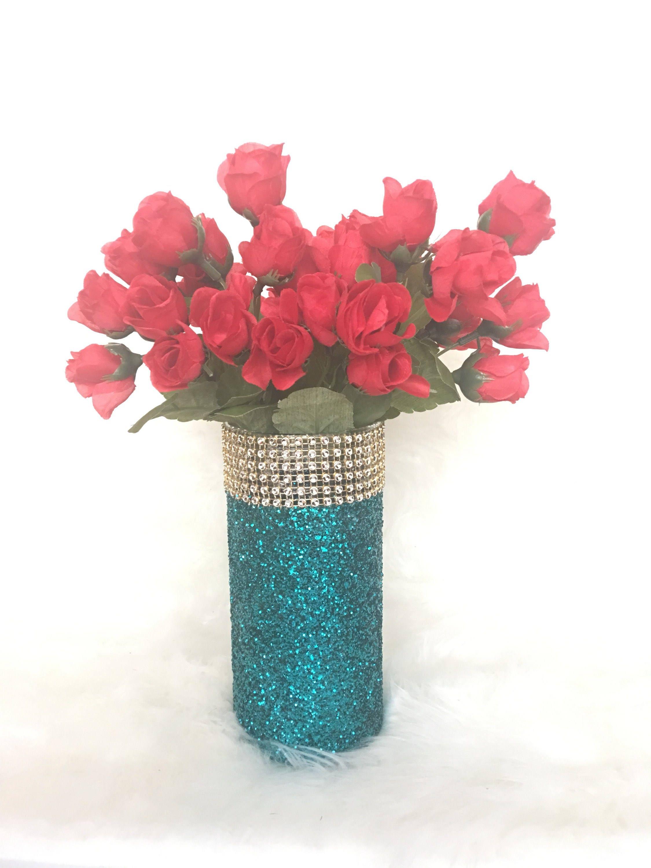 Glitter Vase Glitter Flower Vase Glitter Centerpiece Etsy