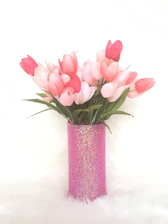 Pink Glitter Vase Glitter Flower Vase Glitter Centerpiece Etsy