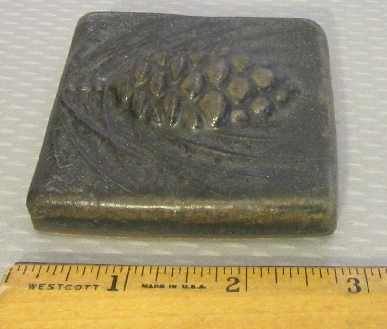Detroit Art Pottery handcrafted PEWABIC WINTERBERRY TILE 3 high relief carved pine cone dark luster glaze