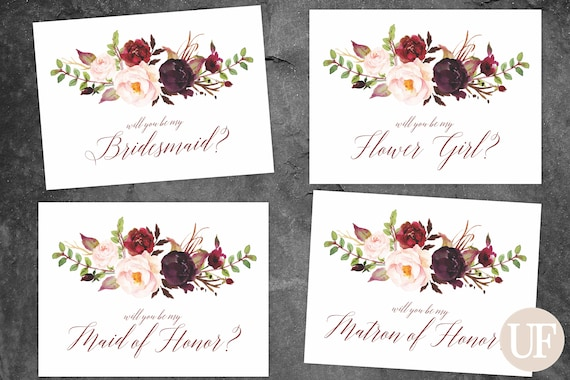 graphic regarding Bridesmaid Proposal Printable titled Marsala and Burgundy Bridesmaid Proposal Printable