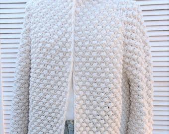 White oversized cardigan