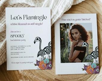 Skeleton Flamingo Bachelorette Party Invitation, lets flamingle bach party, Instant Download, spooky bachelorette party invitation, witch