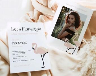Blush Pink Flamingo Bridal Shower Invitation, lets flamingle pool party, Instant Download, flamingle bridal shower hen invitation, witch