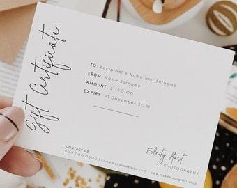 Minimal Gift Card Certificate | Editable Gift card Template | Gift Voucher template card | Modern Shop Voucher Template 111