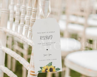 Sunflower Reserved Chair Tag, Country Wedding Seating Tag,  Yellow Printable Chair tag, Editable reserved for bride and groom Tag SUNNY