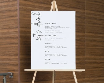 Modern drinks Menu Wedding Sign , drinks bar template Sign, Printable Menu sign,  Editable Bar Menu Sign 111