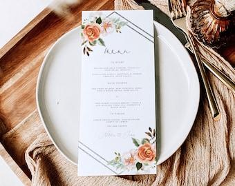 Burnt Orange Floral Geometric Wedding menu lets eat, beige and rust wedding menu ,printable autumn floral dinner menu instant download 128