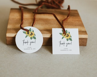 Sunflower Favor tag Rustic wedding favor tag, editable yellow round tag template, printable country wedding gift tag, instant download sunny