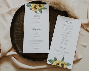 Sunflower Wedding Program for Ceremony, rustic floral program printable, yellow sunflower wedding ceremony program, order of service SUNNY