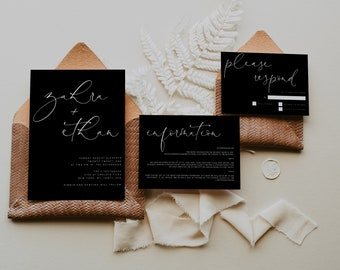 Modern Black Wedding Invitation set, Contemporary dark wedding suite rsvp printable, industrial modern editable black wedding details ZAHRAB