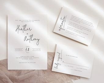 AMARA | Modern Minimalist Wedding Invite set of 3, elegant wedding invitation printable and rsvp card, editable information card invite 111