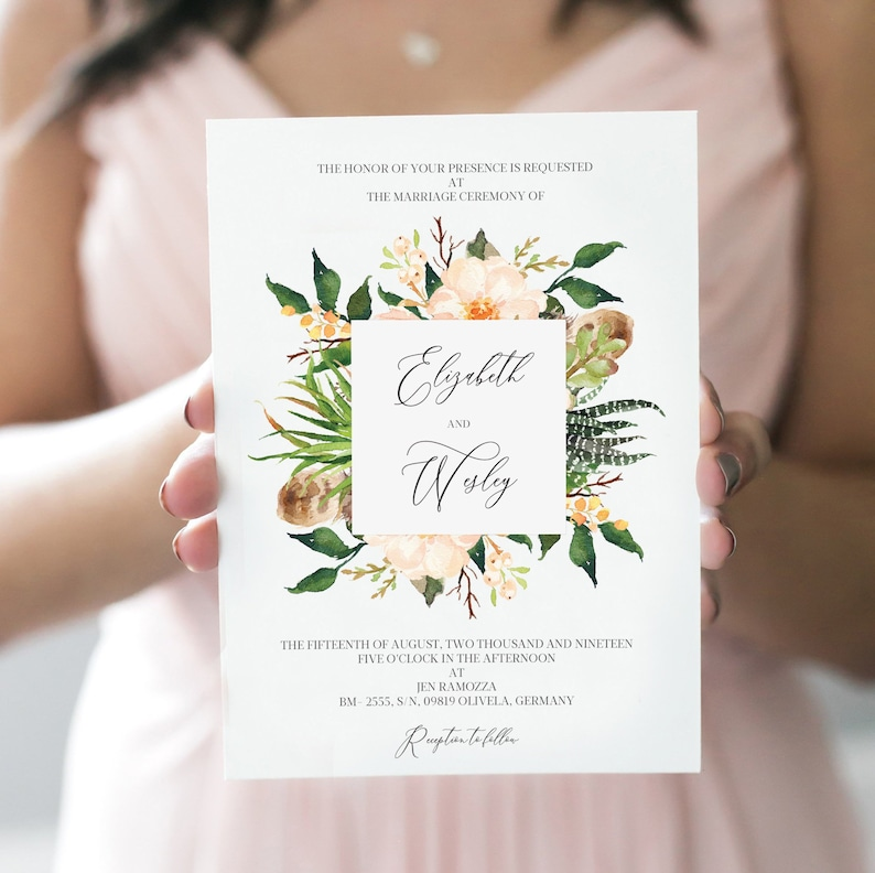 Bohemian Floral Wedding Invitation Editable Wedding Invite Elegant Floral Wedding Invite Card Instant Download 107