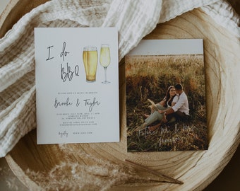 Modern Calligraphy I do BBQ Invitation, modern Couples Shower with photo, Engagement invite, beer couples shower invitation 111